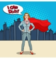 Pop Art Confident Business Woman Super Hero vector image vector image