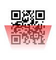qr code sample with red laser scanner vector image