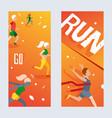 running marathon vertical banner sport vector image