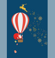 santa claus on a hot air balloon vector image vector image