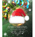 santa hat with fir branches and tinsel vector image vector image