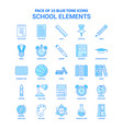 school elements blue tone icon pack - 25 icon sets vector image