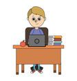 school student boy cartoon vector image