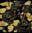 Seamless pattern with black roses and golden leaf