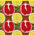 seamless pattern with lemon slices and pomegranate vector image