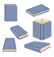 set cartoon books in blue covers vector image vector image