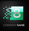 silver number eight logo symbol in green square vector image vector image