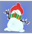Snowman in Spring on Blue Background vector image vector image