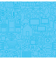 Thin Smart Home Line Seamless Light Blue Pattern vector image vector image