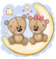 two cute bears is sitting on moon vector image vector image