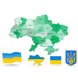 Ukraine Flag and Coat of arms vector image vector image
