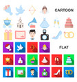 wedding and attributes cartoon icons in set vector image