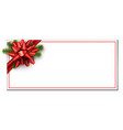 white christmas card with red bow vector image vector image