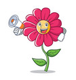 with megaphone pink flower character cartoon vector image