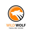 wolf logo design and moon circle vector image