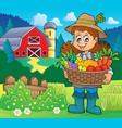 woman farmer holding harvest theme 2 vector image vector image