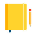 yellow diary on rubber band icon flat isolated vector image