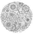 Circle summer doodle flower ornament with vector image