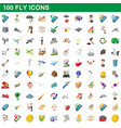 100 fly icons set cartoon style vector image vector image