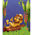 A king lion lying in a trunk vector image vector image