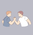 arms wrestling competition strength concept vector image
