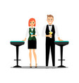 bartenders couple with cocktails and bar chairs vector image vector image