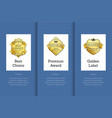 best choice premium award golden label good set vector image vector image