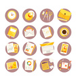 Big set of colorful study icons on white