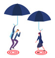 businessman and businesswoman with umbrella aiming vector image vector image