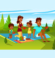 cartoon african family at picnic party vector image vector image