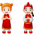 cartoon cute boy and girl in chinese costume vector image