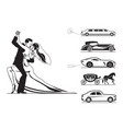 couple groom and bride with wedding cars vector image vector image