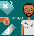 doctor with sthethoscope and medicine first aid vector image vector image