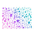 doodle set of stars hand drawn sketch vector image vector image