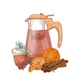 drawing of glass pitcher with strainer cup vector image vector image