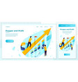 eps set rising arrow with business charts vector image vector image