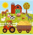 farmer rides a tractor in barnyard vector image