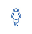 fat woman line icon concept fat woman flat vector image vector image