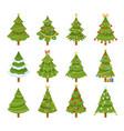 festive christmas tree set flat vector image