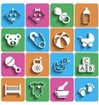 Flat Baby Icons with Shadow vector image vector image