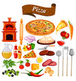 food and spice ingredient for pizza vector image vector image