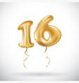 golden number 16 sixteen metallic balloon party vector image vector image