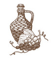 grapes and wicker jug wine winemaking industry vector image