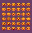 halloween pumpkin emotions icon set vector image