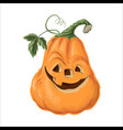 halloween pumpkin with happy face on white vector image vector image