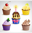 icon set - colorful cupcakes eps10 vector image