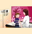kid getting a flu shot by a doctor in the arm vector image