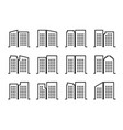 line icons company and buildings set black vector image vector image