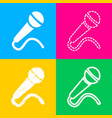 microphone sign four styles of icon vector image