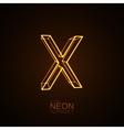 Neon 3D letter X vector image vector image